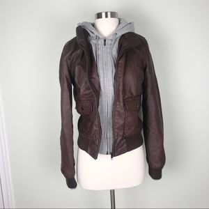 OBEY Urban outfitters moto faux leather with hood